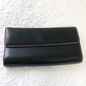 Lodis black wallet with red edging & interior
